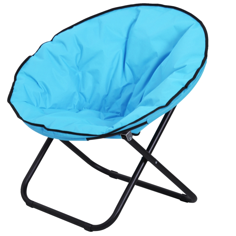 Outsunny Folding Saucer Moon Chair, 80Lx80Wx75H cm, Metal Frame, 600D Oxford Cloth-Blue
