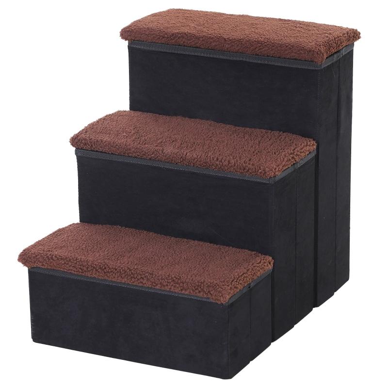 PawHut 3 Step Pet Stairs Foldable Portable Mobility Assistance w/ Washable Fleece Cover 41x19cm Black