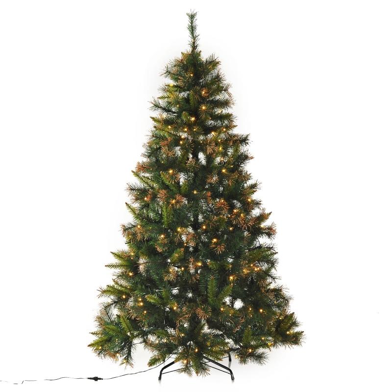 HOMCOM 1.5m Pre-Lit Christmas Tree Artificial Spruce LED Holiday Décor W/ Metal Stand