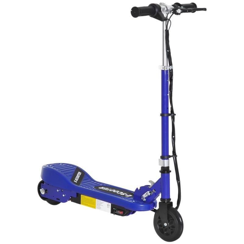 HOMCOM Folding Kids Electric Scooter 7-14 Adjustable Height Battery Power PU Wheels Blue