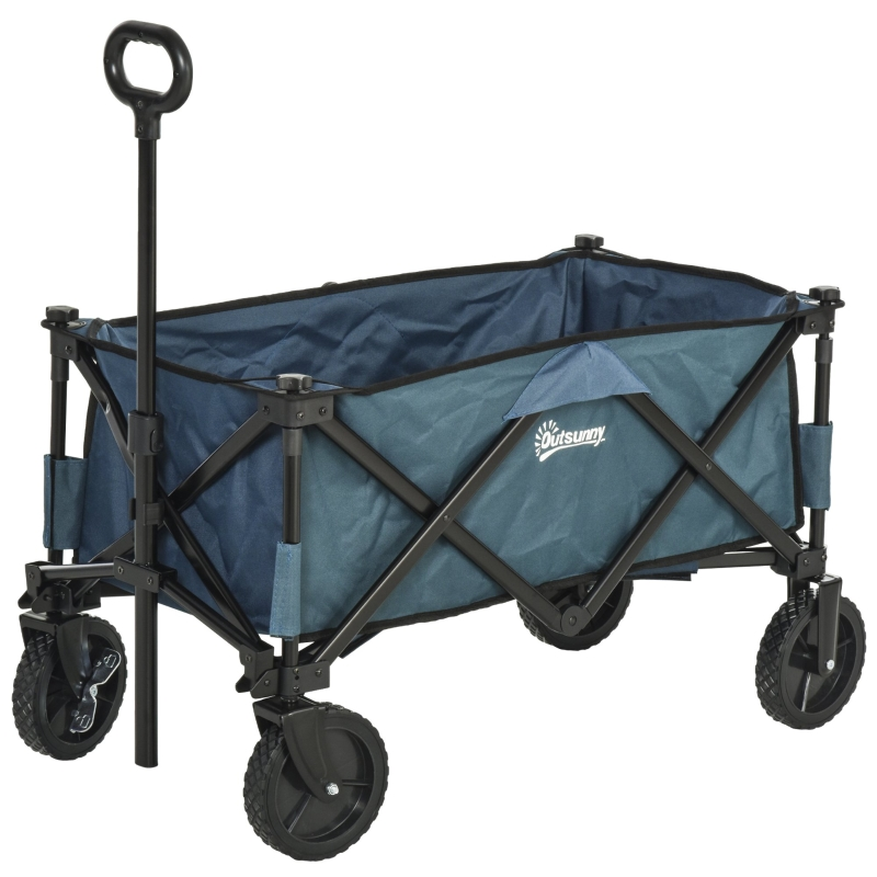 Outsunny Collapsible Folding Outdoor Garden Storage Trolley Cart w/ Telescopic Handle & Brakes Green