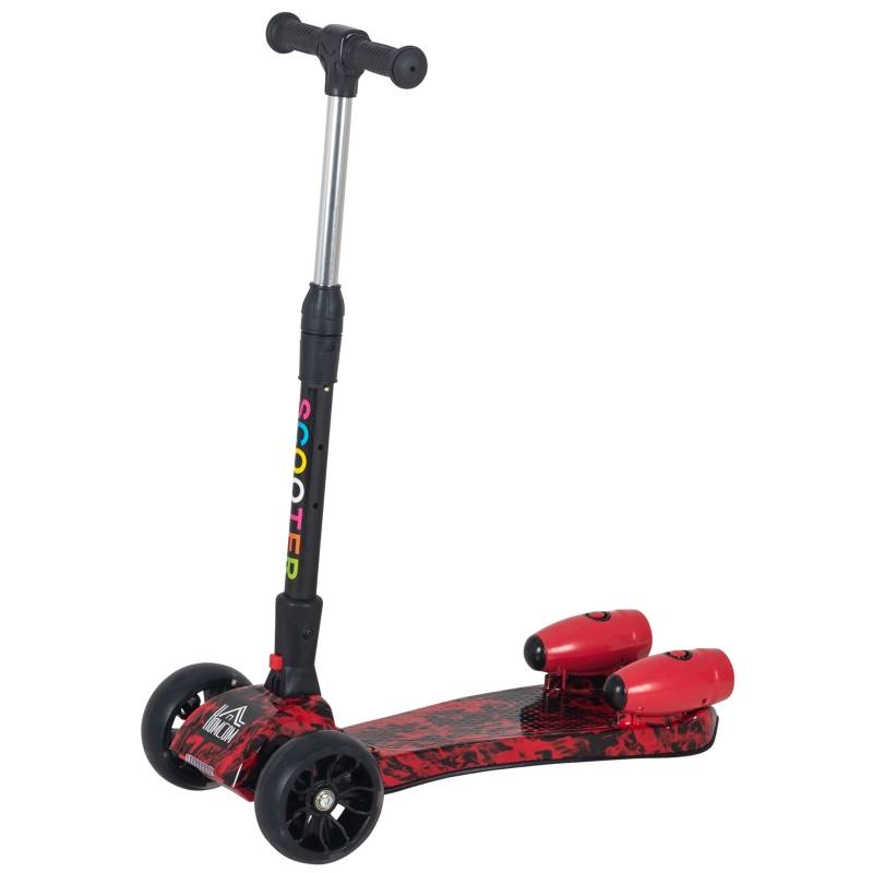 HOMCOM Kids Tri-Wheel Plastic Scooter w/ Engine-Look Water Spray Red
