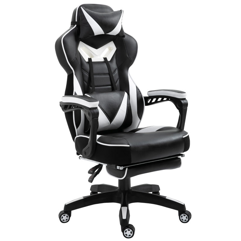 Vinsetto PU Leather Retractable Footrest Gaming Chair w/ Pillows White/Black