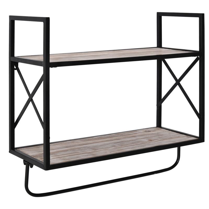 HOMCOM 2-Tier Wall Shelf Metal Frame Wood Shelves Bottom Rail Storage Rack Home Natural
