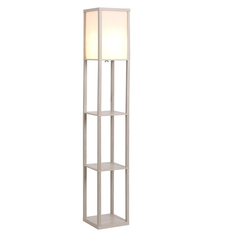 HOMCOM MDF 3-Tier Shelves Floor Lamp Oak/White