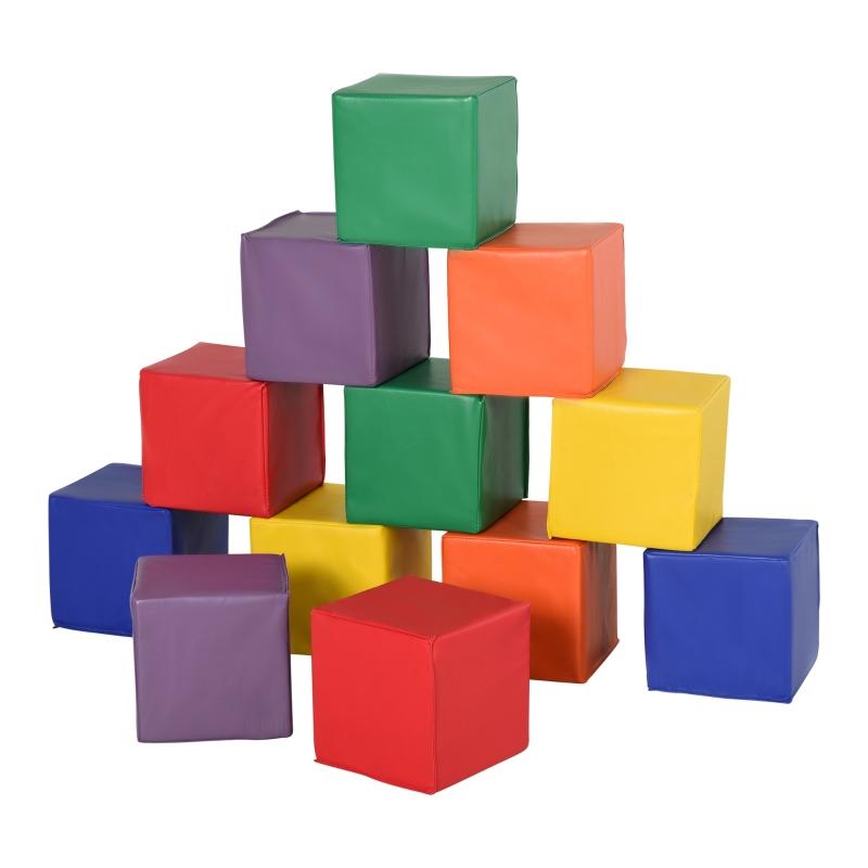 HOMCOM Kids 12-Piece PU Soft Stacking Blocks Multi-Colour