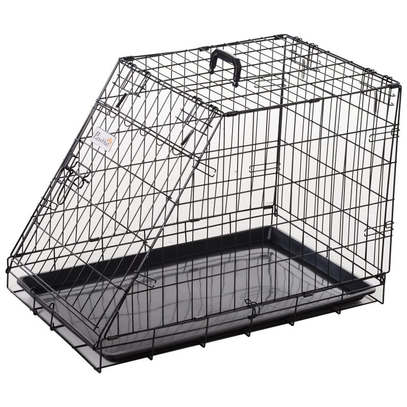 PawHut Trapeze Collapsible Dog Cage Transport Box Carrier w/ Handle Removable Tray Metal 55x48cm