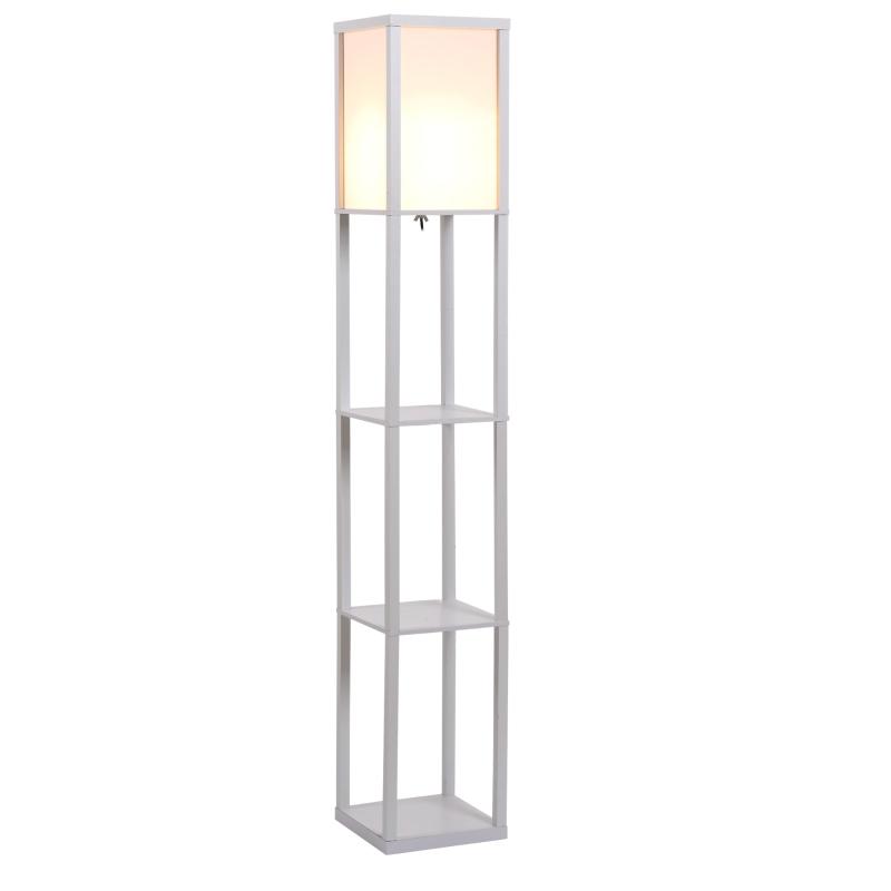 HOMCOM MDF 4-Tier Floor Lamp White