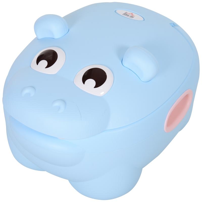 HOMCOM Toddler's Plastic Portable Lift-Top Hippo Toilet Trainer Potty Blue