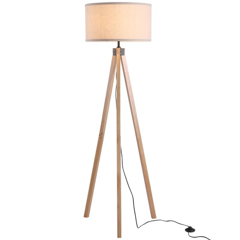 HOMCOM Rubber Wood Tripod Floor Lamp Beige