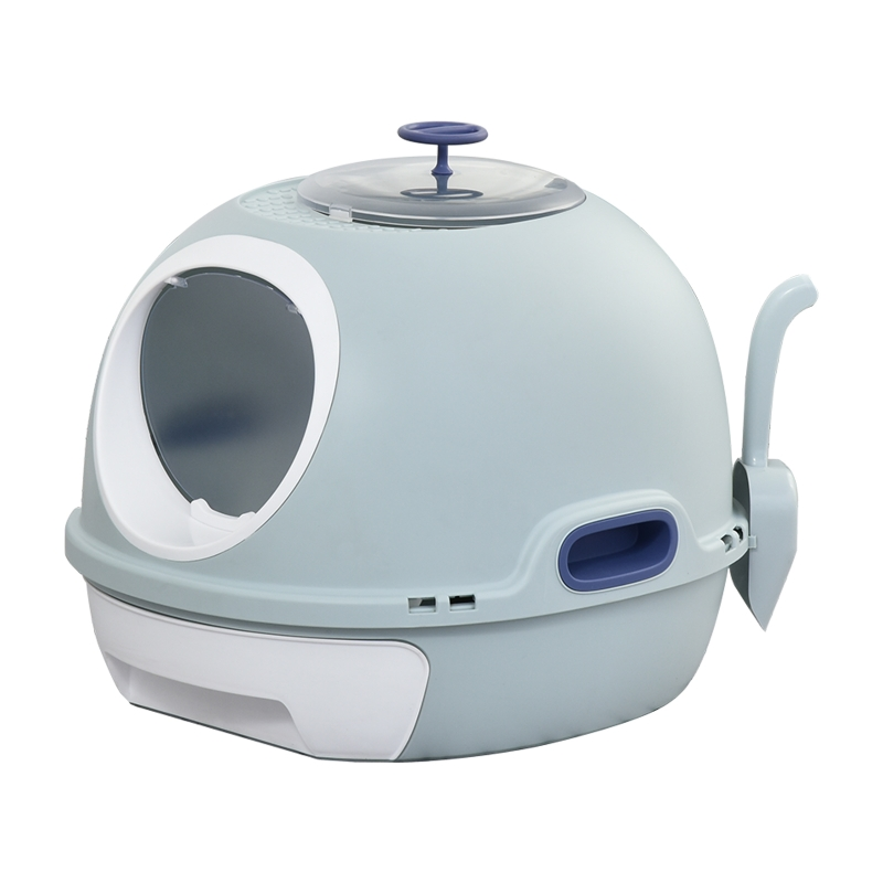 PawHut Cats Rooftop Plastic Easy Clean Litter Box Blue