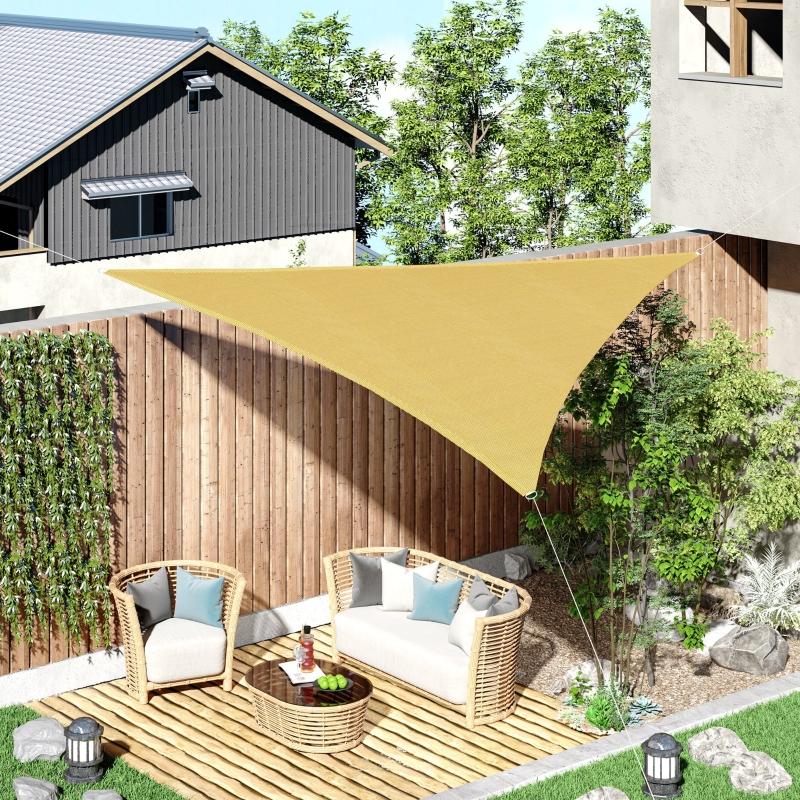 Outsunny Triangle Sun Shade Sail 5m x 5m x 5m UV Block Canopy Shelter, Sand