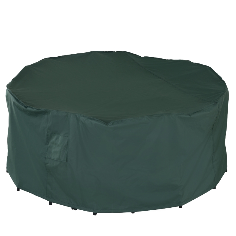 Outsunny PVC Coated Large Round 600D Waterproof Outdoor Furniture Cover Green