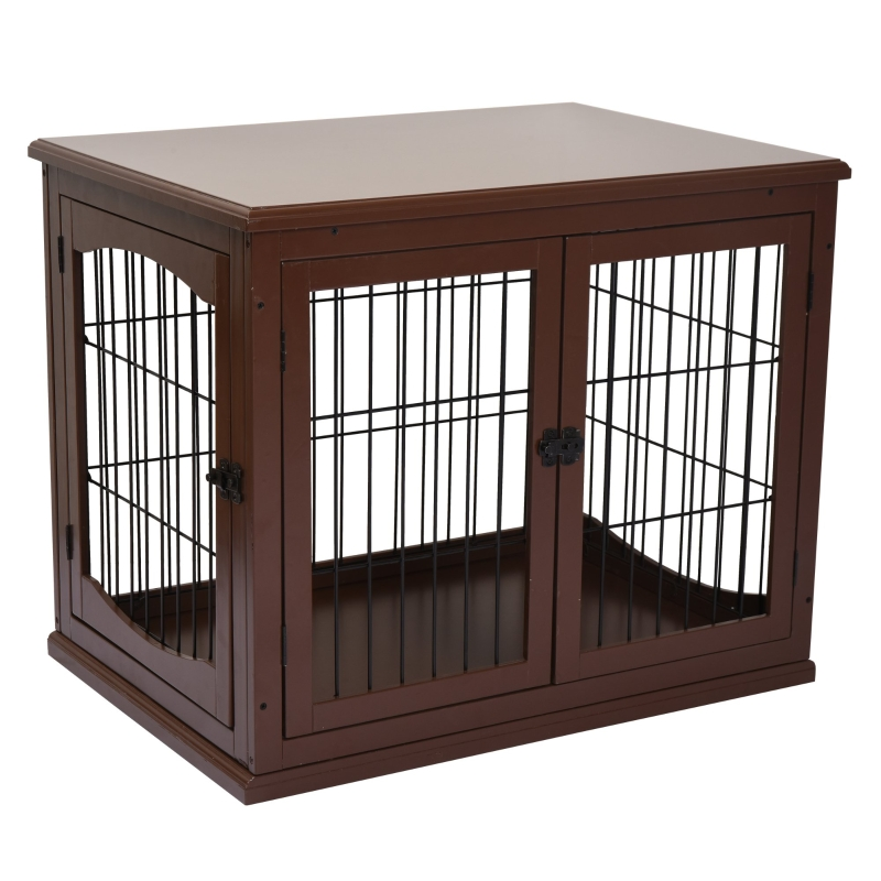 PawHut 66cm Modern Indoor Pet Cage w/ Metal Wire 3 Doors Latches Base Crate Brown