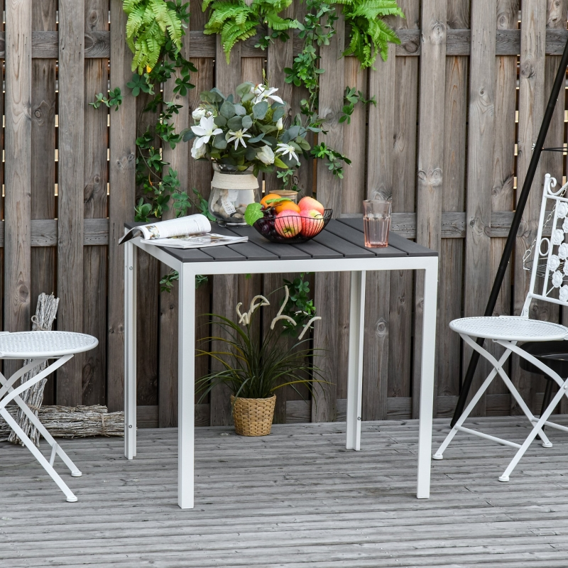 Outsunny Patio Garden Square Metal Table w/ PE Surface, for Porches, Backyards, Dark Grey