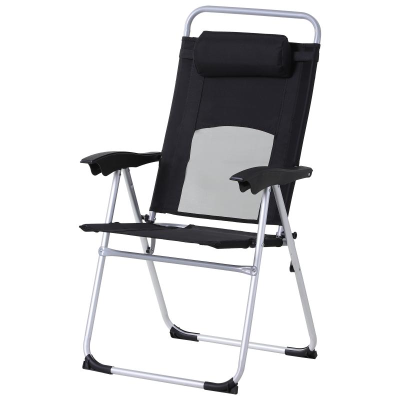 Outsunny Metal Frame 3-Position Adjustable Outdoor Garden Chair w/ Headrest Black