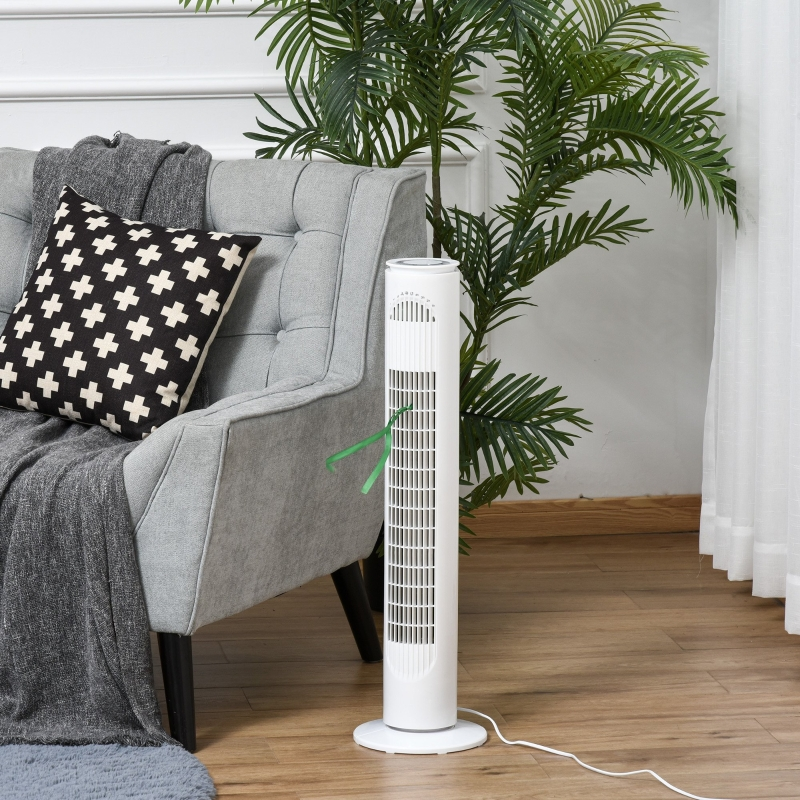 HOMCOM Tower Fan with 3 Speed 3 Mode 10h Timer 70° Oscillation LED Remote Controller