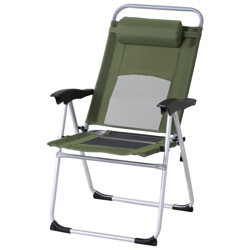 Outsunny Metal Frame 3-Position Adjustable Outdoor Garden Chair w/ Headrest Green