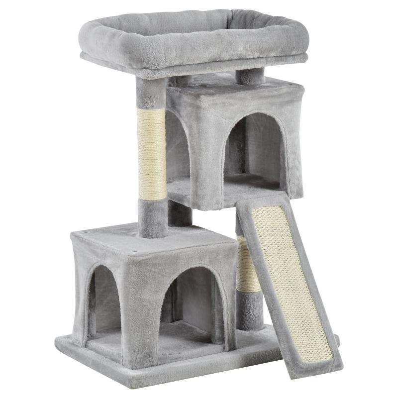 PawHut Cats 3-Tier Sisal Rope Leisure Tree Light Grey