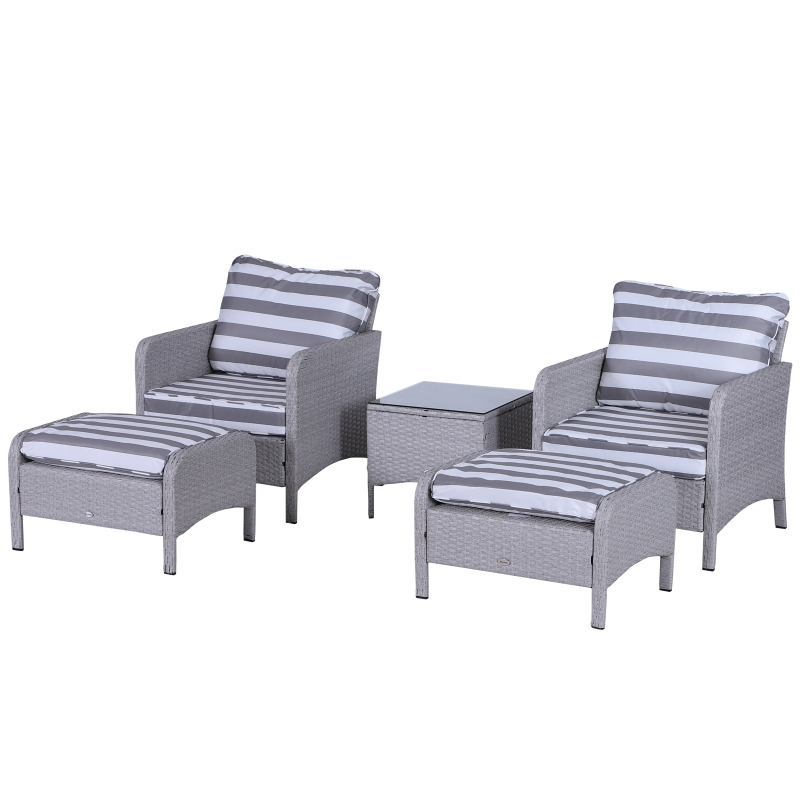 Outsunny 5-Piece PE Rattan Outdoor Garden Furniture Set Light Grey