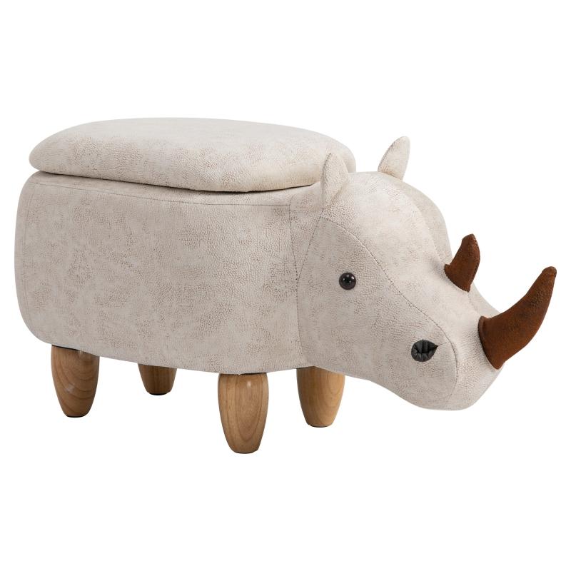 HOMCOM Polyester Upholstered Rhino Storage Stool Cream/White