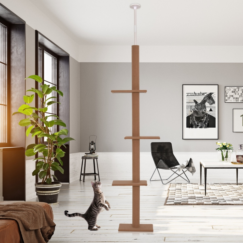 PawHut 4-level Platform Cat Tree with Covered Scratching Posts Natural Cat Tree Activity Center for Kittens Cat Tower Furniture Brown
