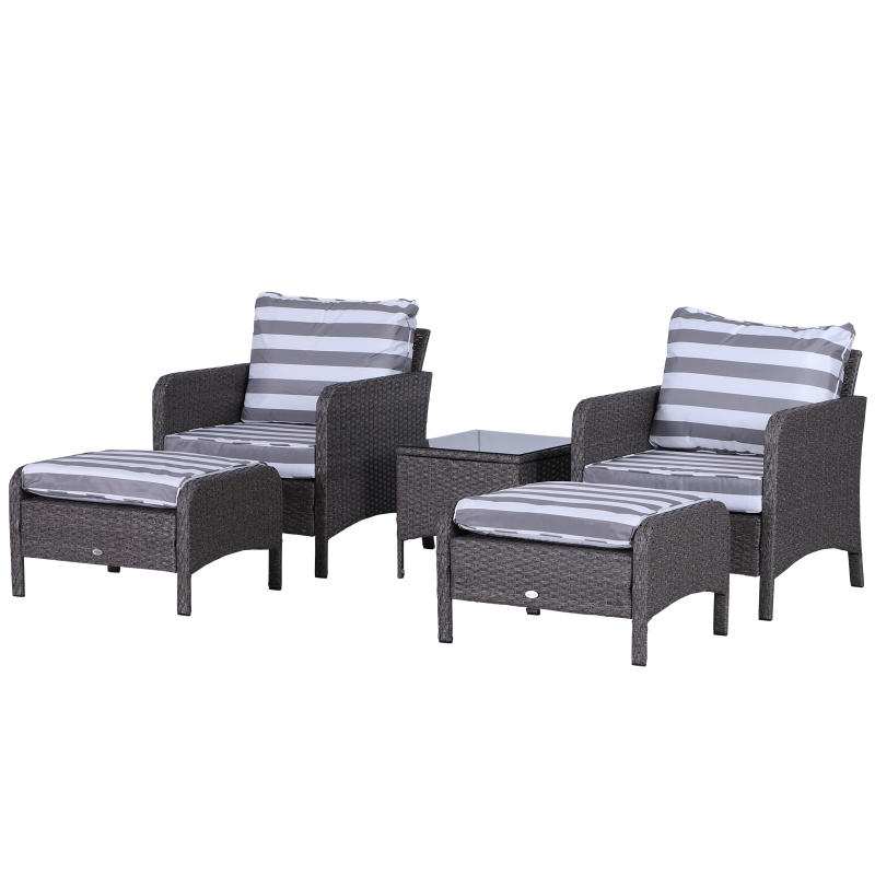Outsunny 5-Piece PE Rattan Outdoor Garden Furniture Set Dark Grey