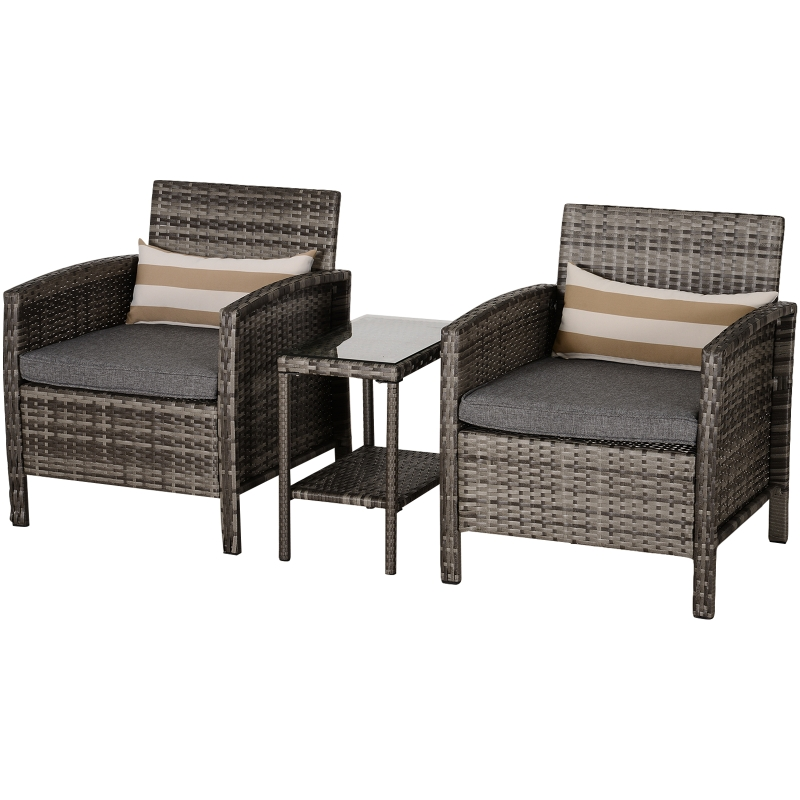 Outsunny 2-Seater PE Rattan Side Table & Armchair Set w/ Pillows Grey