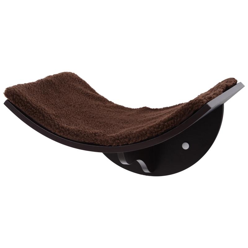 PawHut Cats Wall-Mounted MDF Shelf Bed w/ Fleece Cushion Brown