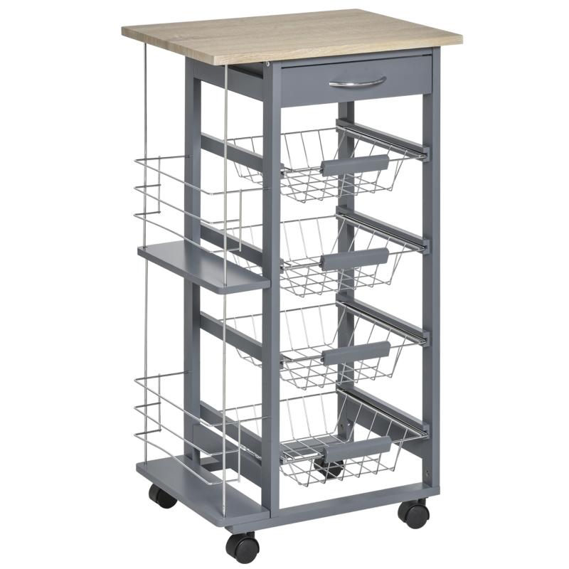 HOMCOM Multi-Use Kitchen Island Trolley w/ 4 Baskets 2 Side Racks Drawer Worktop Dark Grey