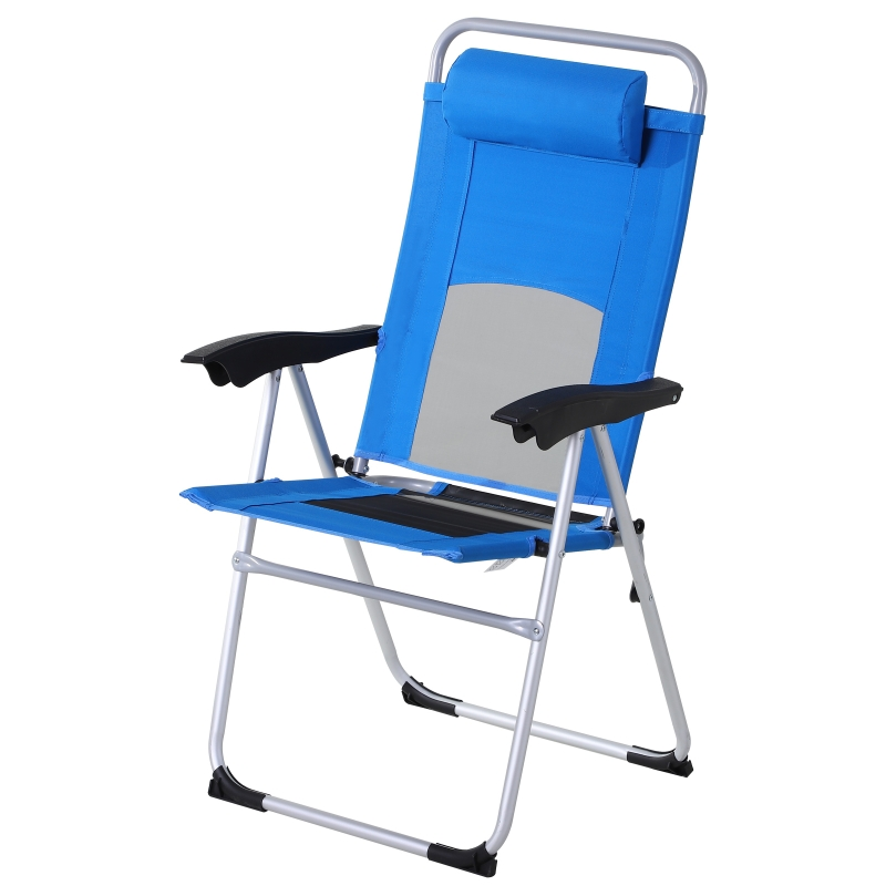 Outsunny Metal Frame 3-Position Adjustable Outdoor Garden Chair w/ Headrest Blue