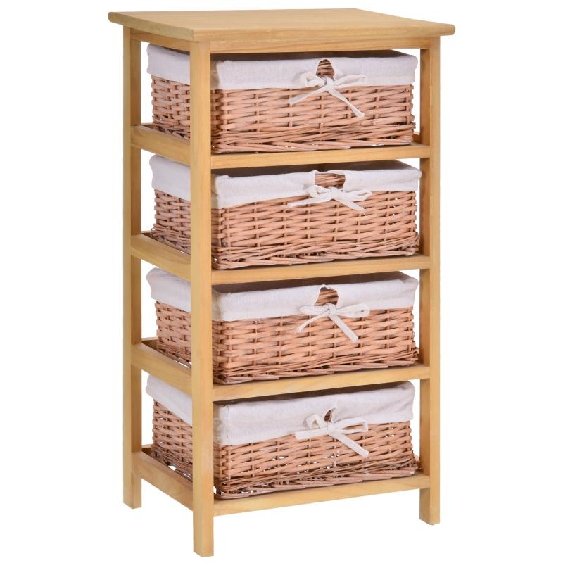 HOMCOM Wicker 4-Tier Storage Basket Shelf Brown