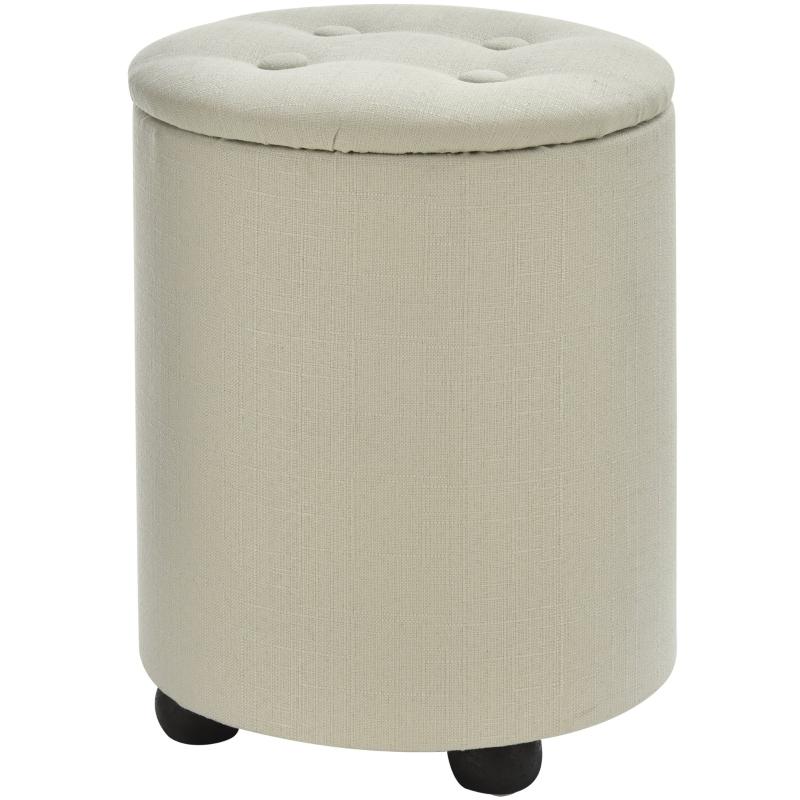 HOMCOM Linen Upholstered Round Ottoman Stool Cream White