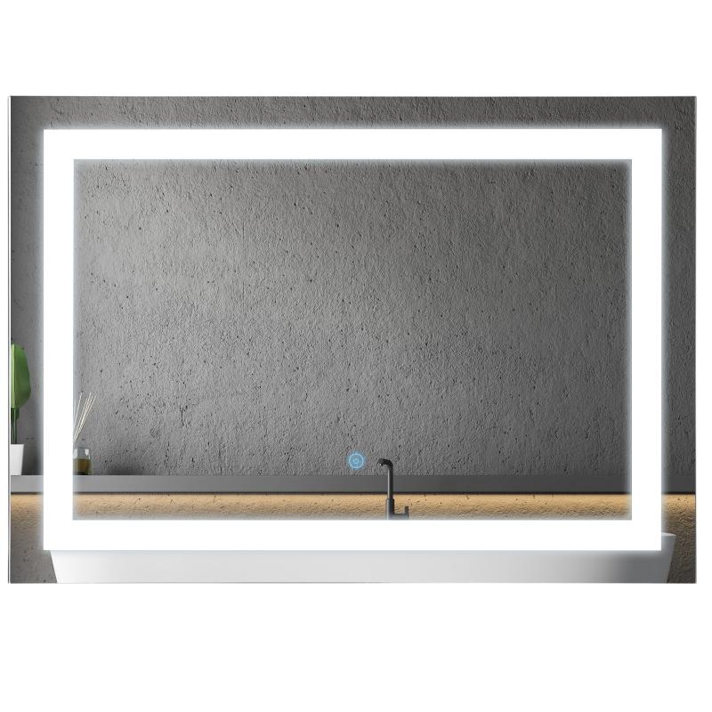 kleankin Glass Illuminated LED Edge Bathroom Mirror - 70x50cm