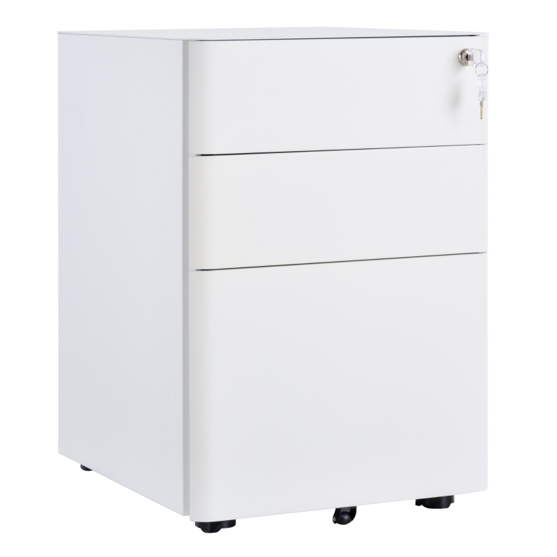 Vinsetto Metal 3-Drawer Filing Cabinet w/ Lock White