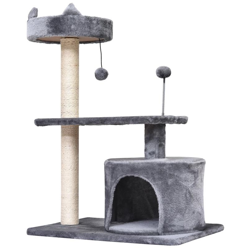 PawHut 81cm  Mult-level Cat Tree Scratcher Kittiy Condo Activity Center House, Grey
