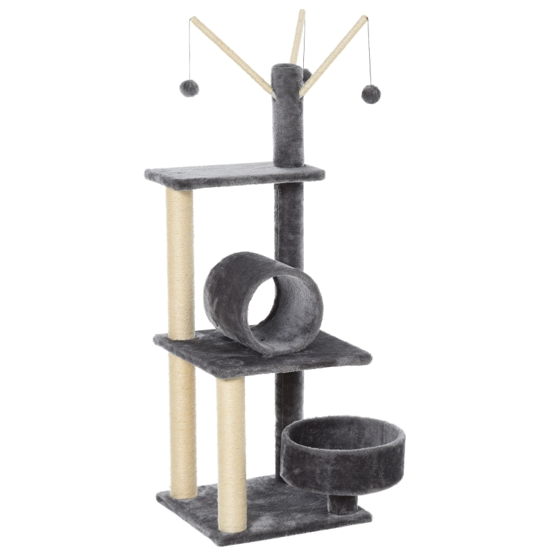PawHut Cats Sisal Rope 3-Tier Scratching Tree w/ Dangle Toys Dark Grey