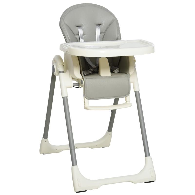 HOMCOM Babies Foldable PU Highchair Grey