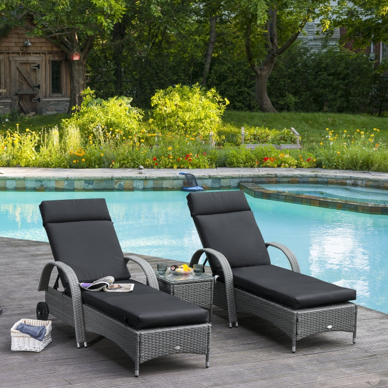 Outsunny Set of 2 Sun Lounger Cushion Non-Slip Seat Pads for Indoor Outdoor Black