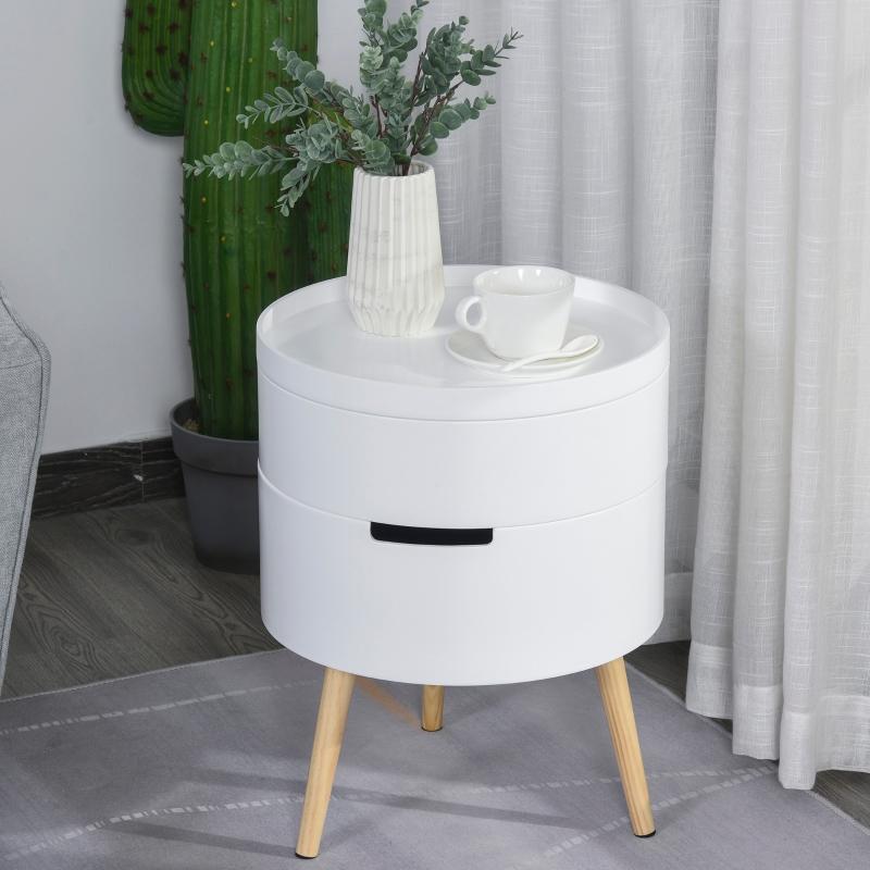 HOMCOM Side Coffee Table End Desk Night Stand Storage w/ Detachable Tray , White