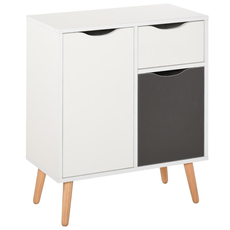 HOMCOM Floor Cabinet Storage Cupboard Sideboard with Drawer for Bedroom, Living Room