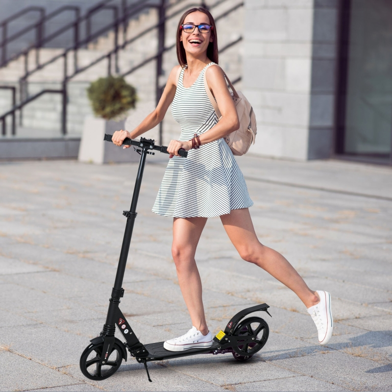 HOMCOM Kick Scooter Foldable Aluminum Ride On Toy For 8+ Adult Teens w/ Foot Brake