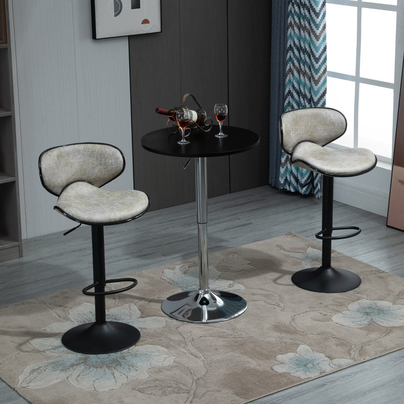 HOMCOM Vintage Bar Stool Set of 2 Faux Leather Adjustable Height Armless Chairs