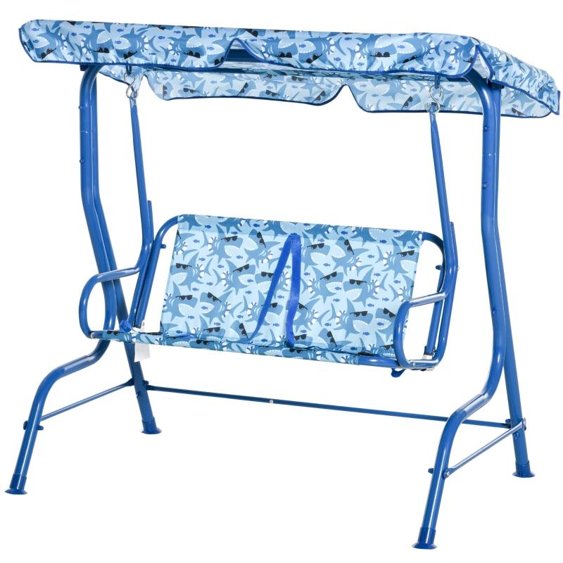 Kinderschommel speeltuin schommel tuin steiger buiten 3-8 jaar metaal blauw