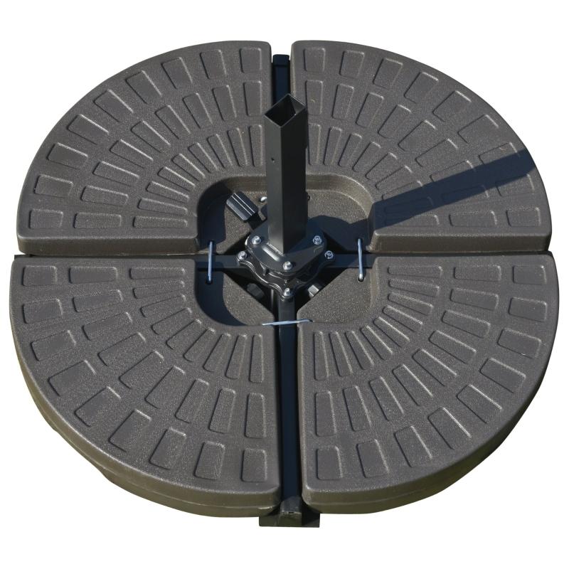 Schermgewicht 4-delig Zonneschermvoet kan worden gevuld met 17 kg water of 25 kg zand