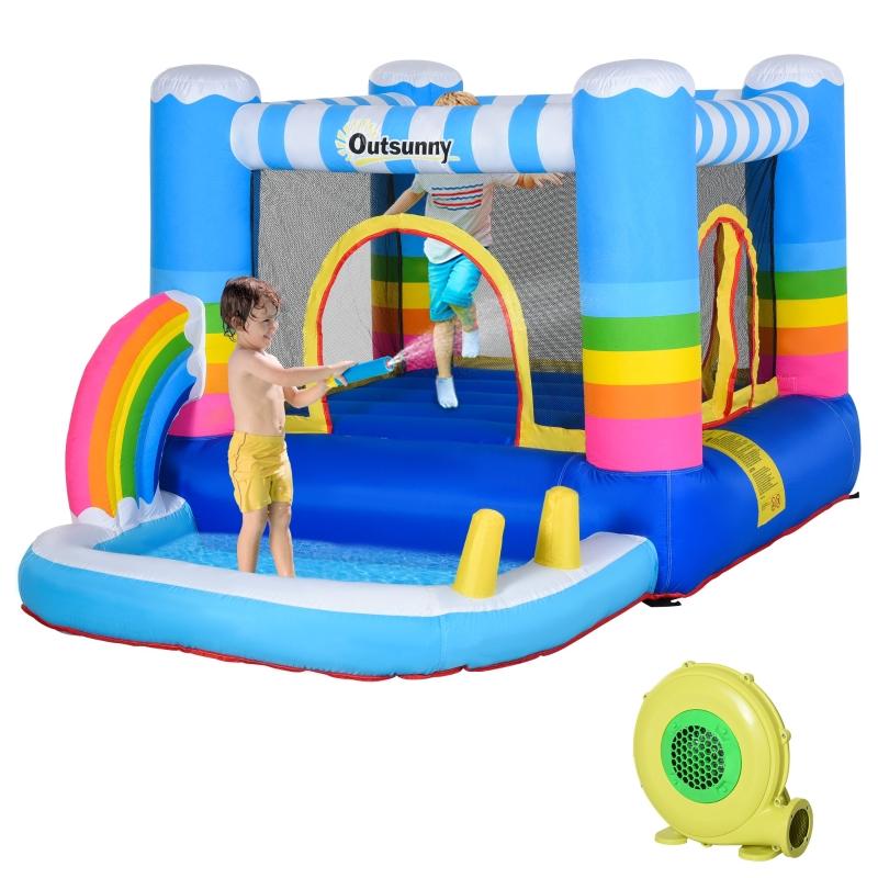 Opblaasbaar springkasteel met glijbaan springkasteel speelkasteel met blazer voor 3 kinderen