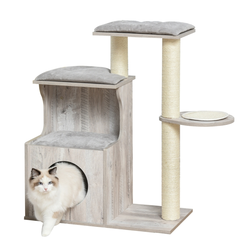 krabpaal met kattengrot kattenboom klimboom voor katten E1 MDF sisal grijs