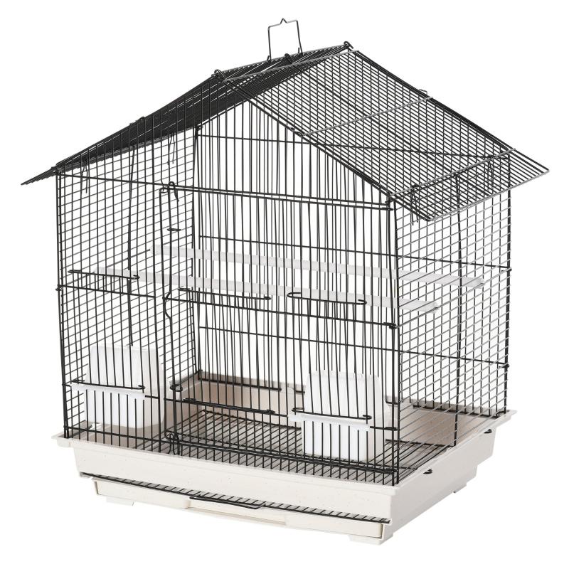 Vogelkooi vogelhuis volière voor papegaai met 2 voerbakjes wit