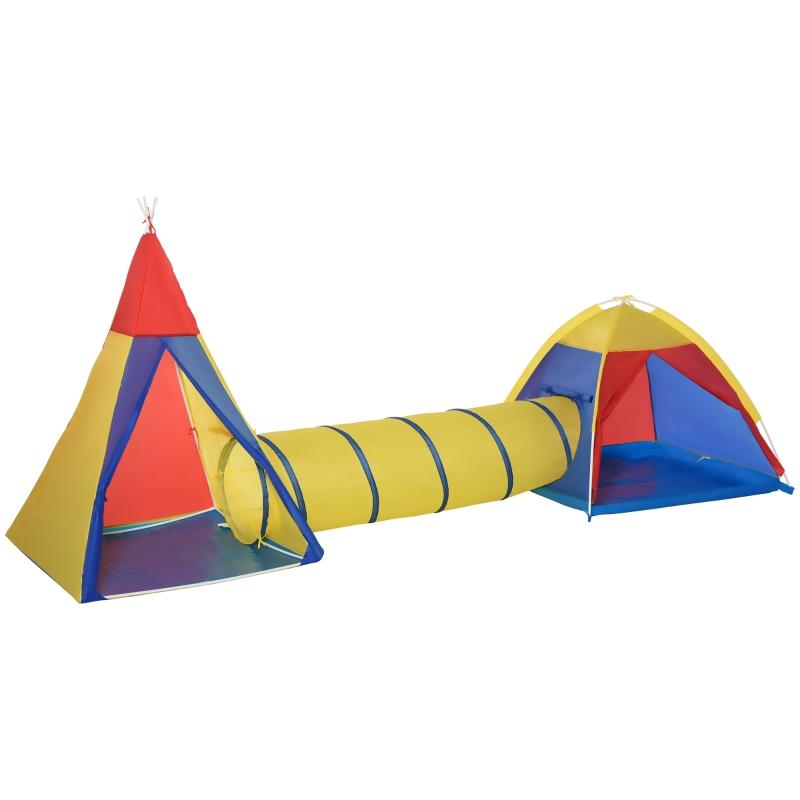 Speeltent kindertent met tunnel draagtas 170T speelhuis voor 3-8 jaar