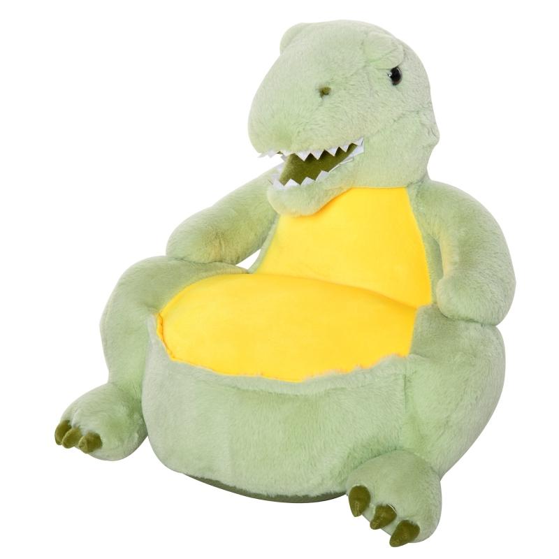 Pluche kinderfauteuil knuffel kinderstoel dinosaurus voor kinderkamer groen